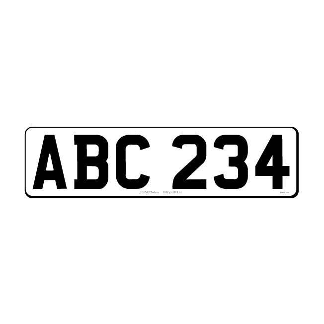 6 Digit Small Rectangle UK Front Bespoke Legal Number Plate